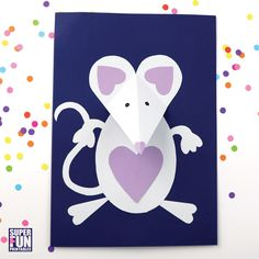 mouse crafts Make a sweet paper mouse craft from simple shapes printed on construction paper and then assembled and glued together. Perfect for Valentines day! Paper Crafts For Kids, Diy Arts And Crafts, Creative Crafts, Clay Crafts, Origami, Mouse Crafts, Daycare Crafts, Construction Crafts, 3d Craft