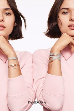 Represent what makes you, you with the Reflexions bracelets in sterling silver and Pandora Rose. Every styling is a fresh surprise. Jewelry Model, Cute Jewelry, Charm Jewelry, Silver Jewelry, Pandora Bracelets, Pandora Jewelry, Pandora Charms, New Pandora, Mesh Bracelet