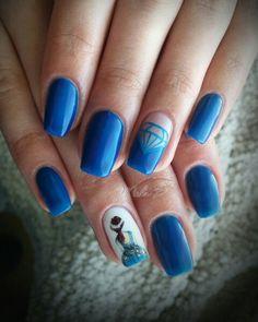 Blue nails, princess nails, diamond nails,  royal blue