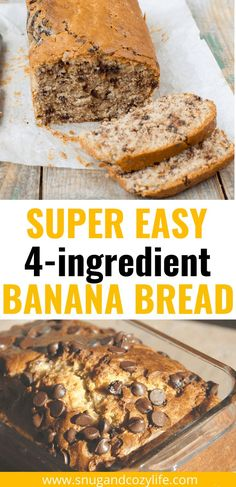 This simple Banana Bread recipe is such an EASY way to use up your overripe bananas! It starts with a cake mix and makes the best, most moist dessert bread. It's awesome for breakfast, dessert, or a snack! #bananabread #snugandcozylife #easydessertrecipes Egg Recipes For Breakfast, Delicious Breakfast Recipes, Breakfast Dessert, Breakfast For Kids, Delicious Desserts, Breakfast Ideas, Cake Mix Banana Bread, Banana Bread Recipes, Cake Mix Recipes
