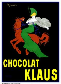 Chocolat Klaus by Cappiello 1903 France - Beautiful Vintage Poster Reproductions. This vertical french poster advertising chocolate features a woman in a green dress and hat on a red horse riding across a black background. Giclee advertising print Classic