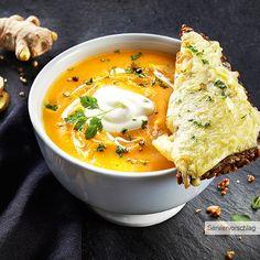 ALDI Nord - Rezept - Süßkartoffel-Möhren-Suppe mit herzhafter Käsestulle
