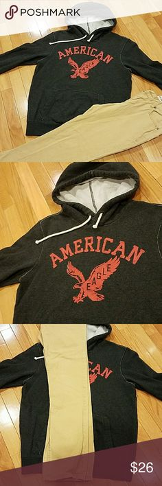 American eagle hoody and size 14 slim chinos Both are in really good condition. I ordered both here on posh but they don't fit my son. The chinos are Cherokee and the hoody is American Eagle. The hoody is size xs in mens American Eagle Outfitters Shirts & Tops Sweatshirts & Hoodies