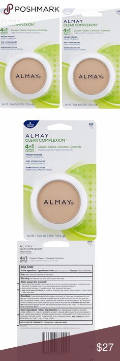 2 Almay Clear Complexion 4-in-1 Pressed Powder Lot of 2 new and sealed Almay Clear Complexion 4-in-1 Blemish Eraser Pressed Powder in Light (100).  0.28 oz (8 g) each.  Covers, clears, corrects and controls.  Pure, hypoallergenic, dermatologist tested. Almay Makeup Face Powder
