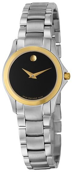 0605872 NEW MOVADO MILITARY LADIES WATCH    Usually ships within 8 weeks- FREE Shipping- NO SALES TAX (Outside California) - WITH MANUFACTURER SERIAL NUMBERS- Black Dial- Battery Operated Quartz Movement- 3 Year Warranty- Guaranteed Authentic- Certificate of Authenticity- Polished Gold Bezel with Steel Case