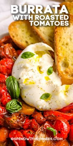 Tomato Appetizers, Cheese Appetizers, Yummy Appetizers, Appetizer Recipes, Tapas, Vegetarian Recipes, Cooking Recipes, Healthy Recipes, Burrata Recipe