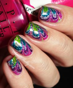 watermarble-decal-nail-art-tutorial-rainbow-jelly-polish-over-glitter-OPI-Color-Paints-Sassy-Shelly