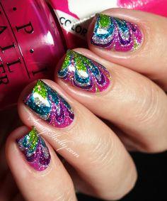 No-Mess Watermarble Decal Nail Art Tutorial! Rainbow Sparkle Tie-Dye Manicure.  |  SassyShelly. #nails #nailartist #tutorial