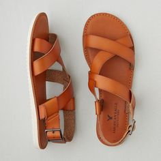 AEO Slingback Sandals ($30) ❤ liked on Polyvore featuring shoes, sandals, tan, american eagle outfitters, slingback shoes, strappy sandals, strap sandals and sling back sandals
