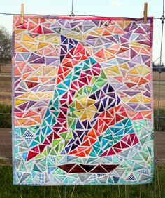 Nautical Quilted Art Wall Hanging  Ticker Tape by PersimonDreams, $405.00