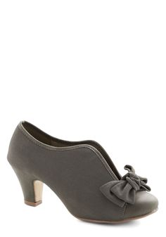 Bow Other Way Bootie in Grey. Adorable is the only way you know how to dress, which is how you find amazing accessories, like these bow-topped grey booties! #grey #modcloth