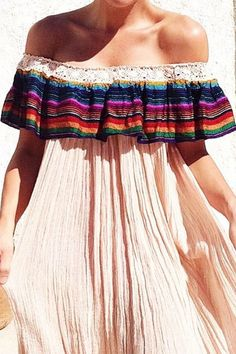 Bohemian Embroidery Pink Patchwork Lace Draped Embroidery Ruffle Off Shoulder A-line Mexican Bohemian Mini Dress - Pink Patchwork Lace Draped Embroidery Ruffle Off Shoulder A-line Mexican Bohemian Mini Dress Hippie Style, Gypsy Style, Hippie Chic, Bohemian Mode, Bohemian Style, Boho Chic, Bohemian Schick, Trends 2016, Mexican Fashion