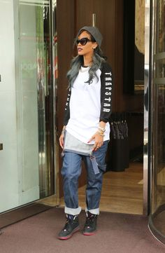 Rihanna T-Shirt - Rihanna paired a black and white baseball tee with a pair of folded over overalls while out and about in London.