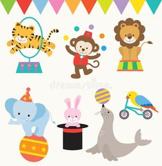 Illustration about Illustrations of animals perform in a circus. Illustration of magician, juggling, seal - 54967705 Circus Baby, Circus Theme, Circus Circus, Circus Illustration, Circus Decorations, Baby Shower Clipart, Animal Wallpaper, Animal Faces, Cartoon Images