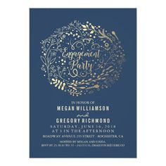 Gold Floral Bouquet Navy Engagement Party Card