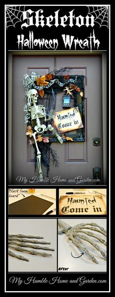 Skeleton Halloween Wreath on MyHumbleHomeandGarden.com