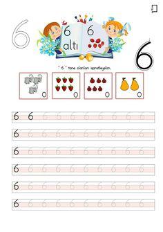 6 Rakamı Çalışma Sayfası Preschool Math, Teaching Kindergarten, Alphabet Pictures, Turkish Language, Math For Kids, Teacher, Study, Education, Fine Motor