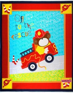 Fireman Quilt Fabric Panel Off To The Rescue Boy Quilt Fabric
