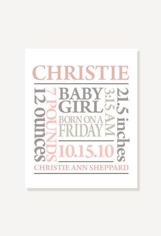 Nursery Art Birth Announcement - Subway Art - Personalized & Custom Colors Digital Print Poster