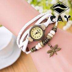 Retro Baum Blatt Leder Armkette Armband Armbanduhr Uhren Uhr Watches Die Libelle Weiß - http://geschirrkaufen.online/sanwood/weiss-damen-retro-baum-blatt-leder-armkette-uhren