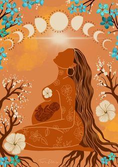 Art And Illustration, Birth Art, Pregnancy Art, Feminist Art, Moon Art, Aesthetic Art, Female Art, Art Inspo, Art Drawings