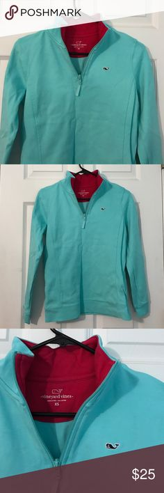 Vineyard Vines Baby Blue Quarter Zip I only wore it twice the color wasn't for me. Awesome condition sorry it's wrinkled in the pictures it's been in my drawer for a few months! No logo on the arms or back just the whale on the front. Message me if you have questions! Vineyard Vines Tops Tees - Long Sleeve
