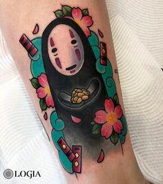 Spirited Away No Face Tattoo by Stefan Salamone Face Tattoos, Anime Tattoos, Dog Tattoos, Body Art Tattoos, Print Tattoos, Kawaii Tattoos, Tatuaje Studio Ghibli, Studio Ghibli Tattoo, Spirited Away Tattoo