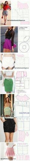 Estos son algunos patrones de faldas que están muy bien para tener una idea de como quedan.