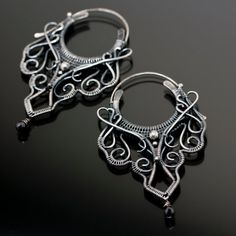 Tribal inspired Hoops Bohemian Fine Silver Black by sarahndippity, $217.00