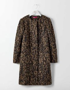 #Boden Imelda Coat Animal Mohair Women Boden, Animal #Dont compromise on cool when the temperature drops - make a bold statement with this collarless fitted coat. Throw it on over your favourite jeans to immediately amp up your style, and let the luxurious Italian fabric keep you cosy whatever the weather.