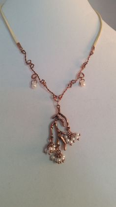 Hand Wrapped Copper Wire & Pearl Necklace