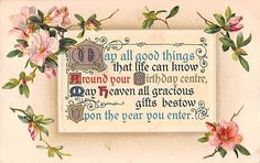 Birthday Motto With Pretty Peach Blossoms on Old Art Nouveau Postcard