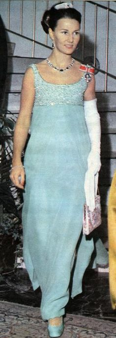 """Newly-wed Crown Princess Sonja of Norway in a green dress and the """"Oslofjord"""" tiara attends the 50th anniversary of Embetsmennenes Landsforbund, an Norwegian organization for state officials from 1918-1968, September 1968"""
