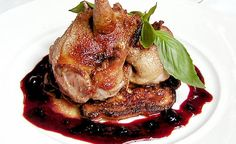 Roast Squab with Corncakes and Blueberry Gastrique Recipe | D'Artagnan
