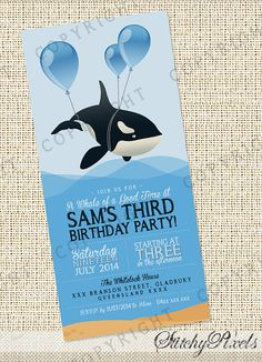 Whale/Orca with balloons Party Invitation - Customised and Printable PDF Invites