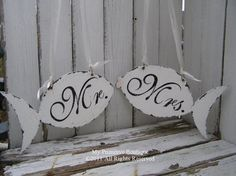 Vintage Wedding Sign Set, Mr and Mrs CHAIR HANGERS, Beach Wedding Chair Hangers, FISH Shaped Design