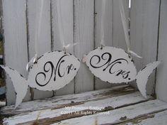 Vintage Wedding Sign Set, Mr and Mrs CHAIR HANGERS, Beach Wedding Chair Hangers, FISH Shaped Design