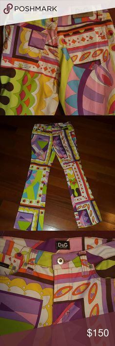 1 day sale!!! Dolce & Gabbanna gorgeous pants. Colorful, vintage, festive pants. Dolce & Gabbana Pants Boot Cut & Flare
