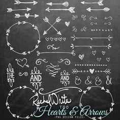Coeurs & flèches Clip Art Set - 84 images - noir, blanc, 300 dpi, 6po - téléchargement immédiat