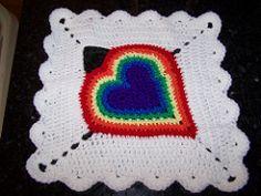 Ravelry: Heart Squares Afghan, Square 8: Rainbow Heart pattern by Melanie Blake
