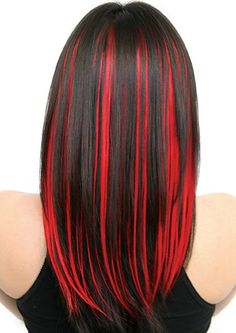 Dark hair with vivid red highlights.