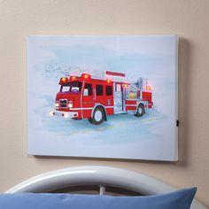 LED lighted print wall hanging art Fireman Fire truck child night light lamp #generickidsboysbedroomdecoration #decorativeart