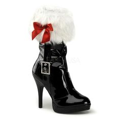 $80 Merry 215 Pleaser Funtasma Christmas Mrs Santa Black Patent Boot. Features Faux white fur trim, rhinestone buckle and Red ribbon bow.