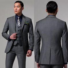 Hot Recommend Center Vent Two Button Dark Grey Groom Tuxedos Notch Lapel Groomsmen Best Man Mens Wedding Suits Jacket+Pants+Vest
