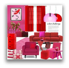 """""""Red Pink"""" by marionmeyer on Polyvore featuring interior, interiors, interior design, Zuhause, home decor, interior decorating, Modloft, Threshold, Pillow Decor und The Moroccan Room"""