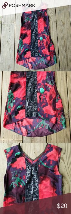 Simply Vera Vera Wang silk dress NWOT Watercolor, silk, sequin,  hiigh ow, size XS, NWOT Simply Vera Vera Wang Dresses High Low