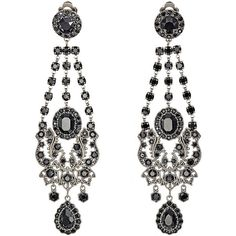 Givenchy Gothic Clip-On Chandelier Earrings ($369) ❤ liked on Polyvore featuring jewelry, earrings, accessories, orecchini, givenchy, colorless, gothic earrings, clip on chandelier earrings, polish jewelry and goth earrings