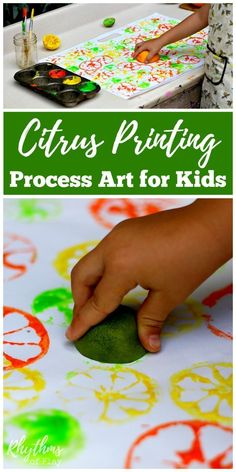 Citrus printing process art is an easy art project and painting idea for children. It is a super fun art technique for kids to learn to use paints and. Citrus Printing Process Art for Kids Toddler Art Projects, Easy Art Projects, Toddler Crafts, Preschool Crafts, Toddler Activities, Projects For Kids, Crafts For Kids, Children Art Projects, Preschool Art Lessons