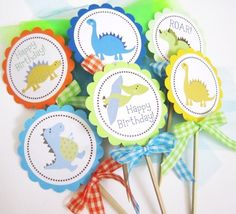 Dinosaur Centerpiece for Birthday or Baby Shower Party - Set of 3   adorebynat - Seasonal on ArtFire