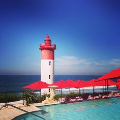Looking out to sea from the Oysterbox Hotel in Durban. From IG user Visit South Africa, Out To Sea, Lighthouses, Eco Friendly, Tourism, Wedding Venues, Hotels, Around The Worlds, Patio